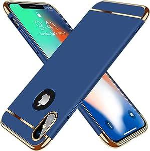 MMC 苹果 iPhone X 手机壳/iPhone Xs 手机壳,3 合 1 奢华硬质塑料手机壳超薄防刮哑光表面,适用于 iPhone 10 + 免费屏幕保护膜(粉刺玻璃)作为礼物赠送 iPhone X/X XS 蓝色