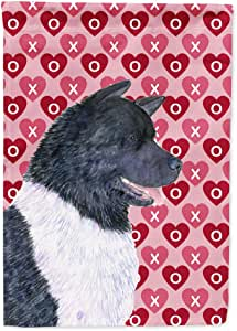 Akita Hearts Love and Valentine's Day Portrait Flag 多色 大