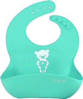 防水硅胶围兜 * 纯铂金 LFGB 硅胶。 无填料。 Single Bib - Bears - Mint Green