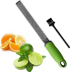 Sunkuka Julienne 削皮器不锈钢切片机,带清洁刷专业适用于胡萝卜土豆梅龙蔬菜水果 亮灰色 Zester 4335495653
