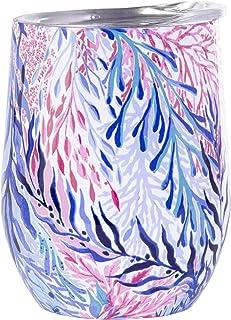 Lilly Pulitzer 不锈钢酒杯带盖,容量为 12 盎司 Kaleidoscope Coral 193003-500