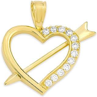 10k 纯金心形吊坠带方晶锆石,浪漫珠宝爱饰品适合特殊场合