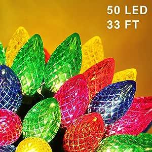 闪烁星星圣诞灯串,50 个 LED 49 英尺室外童话灯适配器供电,适用于家庭婚礼派对圣诞装饰