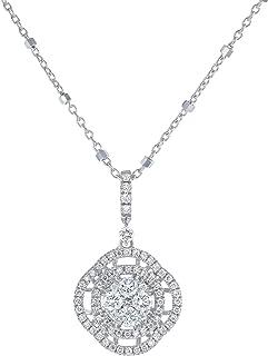 Olivia Paris 1/2 克拉圆形钻石白金双光环吊坠