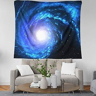蓝色星云螺旋设计银河挂毯 152.40 x 152.40 厘米星空挂毯 太空星尘轨道无限宇宙印花挂毯壁挂迷幻挂毯 适用于客厅卧室宿舍