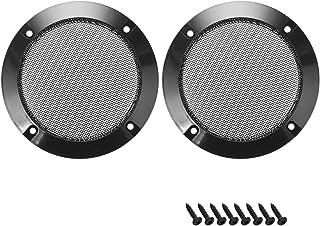 uxcell 2 件 5.08 厘米扬声器烧烤网装饰圈低音保护盖音频零件 黑色