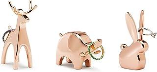 UMBRA Anigram 小动物戒指架3件装,铜金属制成,每个尺寸:约4.5x4.5x7.6厘米