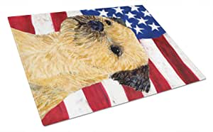 Caroline's Treasures USA American Flag with Border Terrier Glass Cutting Board, Large, Multicolor