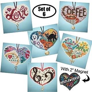 Love Hearts 串珠十字绣套装,6 件套 - Mill Hill 魅力饰品套装 2013 - Plus 装饰针工磁铁