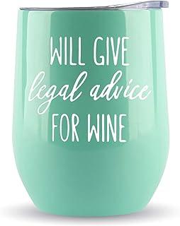 """律师的礼物 - """"Will Give Legal Advice for Wine"""" 340.19 毫升玻璃杯 / 葡萄酒或咖啡杯 - 送给律师学校、法官、学生、副职员、毕业、立陶宛的礼物。"""