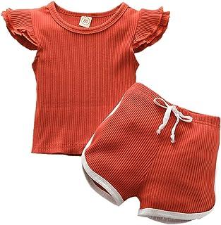 bilison 新生女婴夏季荷叶边无袖蕾丝背心上衣 + 短裤 2 件套纯色套装