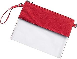 红色透明 10 x 8 涤纶和亚克力斜挎体育场手提包钱包
