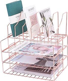 Z PLINRISE 可叠放信件托盘,3 个文件托盘,附杂志架,办公桌面纸张收纳托盘,可放置邮件、文件、文件夹、书籍等,玫瑰金