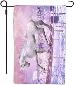 Rikki Knight 桥上白独角兽粉色背景设计装饰房屋或花园全出血旗帜,30.48 x 45.72 厘米