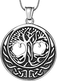 Hipunk Tree of Life 项链男式圆形 316L 不锈钢 18K 金/黑枪镀家庭树吊坠复古时尚珠宝 SP0010