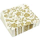 100 件装晚餐装饰餐巾 - 金色印花一次性纸质派对餐巾纸,周年纪念装饰,生日派对用品,16.51 x 16.51 cm 折叠,金色和白色