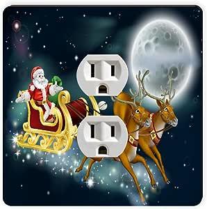 Rikki Knight Santa Delivering Gifts Illustration Single Outlet Plate