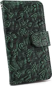 白色坚果字母手机保护壳翻盖式 绿色 2_ Xperia XZs 602SO Sony