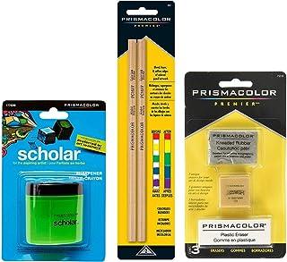 BUNDLE Prismacolor Blender 无色铅笔 2 包 + Prismacolor 3 支橡皮擦套装 + Prismacolor Scholar 彩色铅笔刀