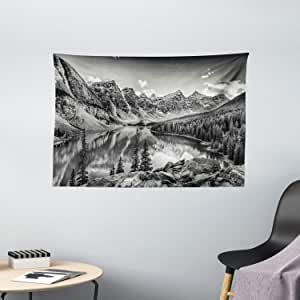 Black and White Decor Tapestry by Ambesonne, Mountain Creek Lake by the Hills Canadian Rocky Valley Peaceful Landscape, Wall Hanging for Bedroom Living Room Dorm, 60WX40L Inches, Grey
