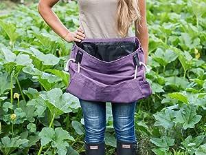 Roo Garden 围裙-The Joey - 园艺、工作和收获工具腰带,带储物口袋和帆布袋 - 女式均码 - 棉帆布,可机洗 均码 紫色