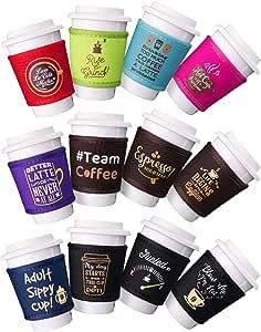 Avery Barn 可重复使用的咖啡杯套,带热冷氯丁橡胶隔热层,魔术贴搭扣式面帽夹套 - 混合套装 12 件套 中 avery-043-1_h16