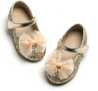 Otter MOMO 幼儿/小女孩玛丽珍芭蕾平底鞋一脚蹬学校派对礼服鞋