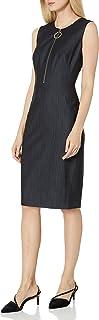 Calvin Klein 女士无袖紧身裤带前拉链连衣裙