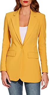Boston Proper Women's Wrinkle-Resistant Classic One-Button Solid Color Boyfriend Knit Blazer