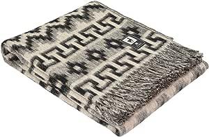 "羊驼毛毯 Throw Andes 民族设计温暖柔软秘鲁 Sand/Black 66""L x 52""W"