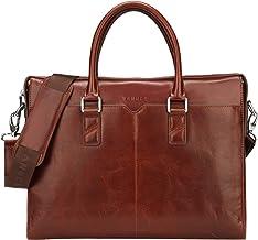 Banuce 男式復古皮革公文包 修身手提包 商務雙路郵差筆記本電腦包收納包