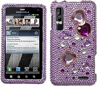 Asmyna MOTXT862HPCDM192NP Luxurious Dazzling Diamante Case for Motorola Droid 3 XT862-1 Pack - Retail Packaging - Love Crash Purple