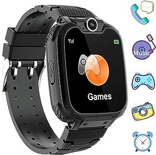 儿童游戏智能手表电话 - 1.44 英寸高清触摸屏男孩女孩手表带 MP3 播放器 双向通话摄像机时钟录音计算器 适用于学生返校学习生日礼物PalmTalkHome X6 Smartwatch  X6 Music Game Black