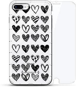 宇航员太空丢失 | Luxendary Air Series 360 套装:透明硅胶保护套,3D打印设计和气袋缓冲缓冲缓冲缓冲缓冲垫+钢化玻璃,适用于 iPhone 8/7 Plus 透明LUX-I8PLAIR360-HEARTS5 HEARTS PATTERN 透明
