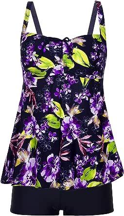 Viqiv 女式复古印花加大码泳衣罩衫泳分体式泳衣两件套泳衣 (FBA) 蓝色紫色 US 14