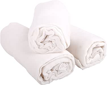 """优质棉布襁褓毯,100% 有机竹纤维,婴儿*精华,中性婴儿派对礼品(3包 47"""" x 47) 白色 均码"""