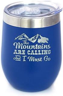Mountains Are Calling - 酒杯带滑动盖 - 不锈钢保温杯 - 户外徒步和露营礼物 蓝色