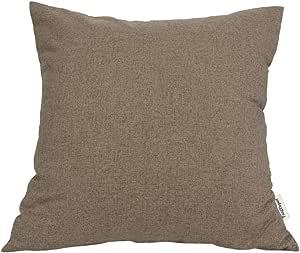 "TangDepot 纯色羊毛抱枕套/欧式枕套/靠垫枕套,超豪华柔软枕套 - 手工制作 - 多种颜色及尺寸可选 浅棕色 20"" x 20"" TPCover-WoolLike-20x20LightBrown"