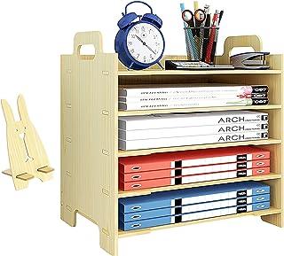 Marbrasse 5 托盘木制书桌文件收纳架,文件邮件纸收纳架分类架,适用于办公室家居用品(白枫木)