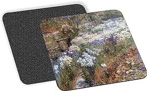 Rikki Knight Childe Hassam Art The Water Garden 设计 - 柔软方形啤*杯垫(x2)