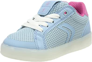 Geox Girls' J Kommodor A Low-Top Sneakers, Turquoise (Lt Sky/Fuchsia), 13 UK