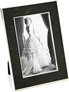 """Maxxi Designs Photo Frame with Easel Back, 5 x 7"""", Silver Plated Black Cosmo"""