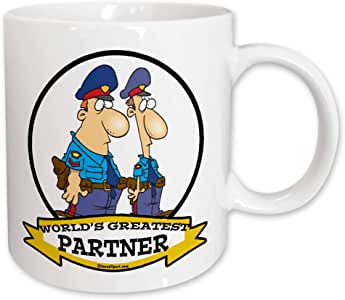 3dRose mug_103082_1 Funny Worlds Greatest Cop Police Partner Cartoon Ceramic Mug, 11-Ounce