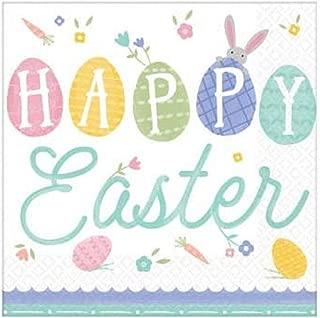 """""""快乐复活节"""",漂亮的彩色午餐餐餐餐巾纸,6.5 英寸 x 66.5 英寸,16 克拉。"""