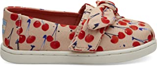 TOMS 儿童 10009918 Alpargata-K Coral Pink Cherry Cherie Print/Bow 8 M US Toddler