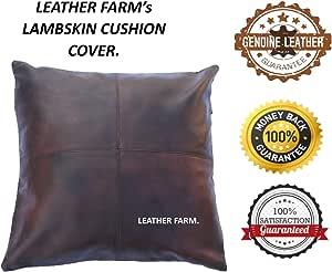 皮革农场厚真皮枕套棕色(双色调)装饰沙发抱枕枕套棕色(双色调)皮革靠垫套纯色 棕色 16''x16'' 43235-172771