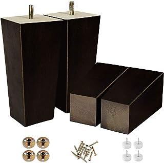 15.24 厘米方形家具腿现代沙发沙发床咖啡椅桌脚可站立于自助餐或厨房 时尚世纪套装 4 带金属螺丝(6 英寸方形)