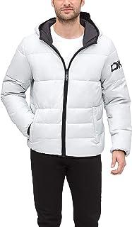 DKNY 男式防水超低软连帽标志棉服