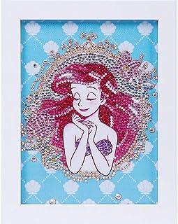 5D 儿童钻石绘画套装,公主钻石Dotz 套装,带框架,全钻画数字套件,适合儿童初学者礼物 7X9 英寸