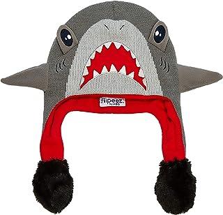 ABG Accessories 男孩小鲨鱼挤压和翻盖趣味寒冷天气帽,灰色/红色,适合年龄 4-7 岁